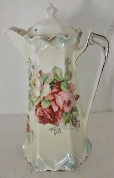Antique Chocolate Pot -Hand Painted Red/Pink Roses - Germany. Bbq Grill Island, Campaign Furniture, Red And Pink Roses, Tea Glasses, Chocolate Pots, Vintage China, China Porcelain, Tea Set, Tea Cups