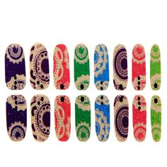 EVTECH(TM) 8 Pcs Colorful Gradient Nail Polish Strips 16 double-ended Nail Decals Strips Nail Art Tips Foils Sticker Transfer Fashion Style Glitters Nail Art Tool Nail Sticker >>> Read more at the image link.