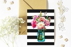 50% Sale Peonies in Mason Jar Clip  by whiteheartdesign on @creativemarket