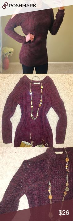 "Cold Shoulder Burgundy Tunic Sweater Small 2-4 NWOT Cold Shoulder Cutout Burgundy Tunic Long Sleeve Sweater Size Small fits sizes 2-4. 29"" inches shoulder to hem. Easy to wear with leggings  and tall boots. 💐Bundle & save 20% Sweaters"