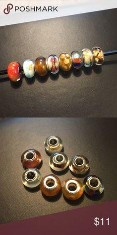 8 assorted glass beads for Pandora bracelet 8 assorted glass beads for Pandora bracelet Jewelry