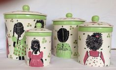 Pink and green ceramic kitchen canisters