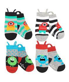 Look at this #zulilyfind! Turquoise & Black Monster Socks Set - Kids by EZ SOX #zulilyfinds
