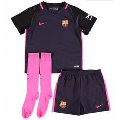 Barcelona Kids Away Kit 2016 2017 - Discount Football Shirts, Cheap Soccer Jerseys Soccer Uniforms, Soccer Jerseys, Football Shirts, Barcelona Shirt, New York City Fc, Girls Soccer, Soccer Kits, Slouchy Tee, Wet T Shirt
