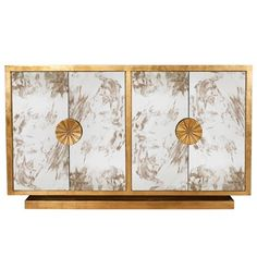 Worlds Away Calypso Gold Leaf Cabinet