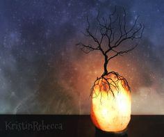 Wire Tree Sculpture and Himalayan Salt Lamp Tree of Life Lighted Rock on Etsy, $95.00