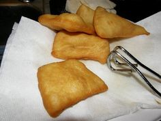 Sopapillas...from New Mexico where I was born.  These are great with just honey inside or stuffed with beans and meat and cheese as an entree.