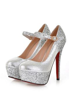 AmoonyFashion Womens Closed Round Toe High Heel PU Frosted Solid Pumps with  Sequin and Buckle 352b5b2ef297