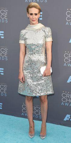 2016 Critics' Choice Awards:: SARAH PAULSON The actress wore a metallic short frock by Naeem Khan with Brian Atwood shoes.