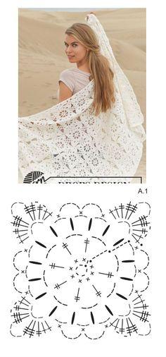 Crochet Bridal Shawl Ivory or White