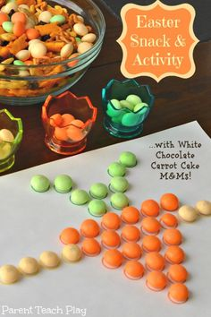 Easter Color Matching Activity with White Chocolate Carrot Cake candy