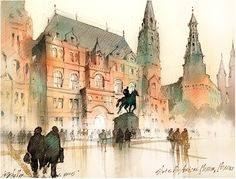 State Historical Museum - Red Square - Moscow Thomas W Schaller - Watercolor