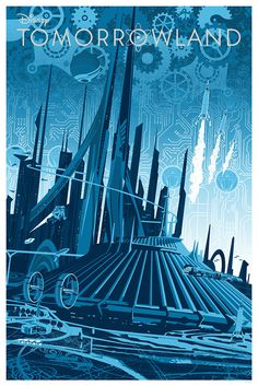 Futuristic Tomorrowland Print from Joe Dunn. Post on the Disney Insider. You can see Young Frank Walker flying around with his jetpack. Limited edition prints still available. Disney Rides, Disney Fun, Disney Magic, Disney Parks, Disney Movies, Walt Disney, Disney Villains, Vintage Disney Posters, Vintage Disneyland