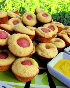 Corn Dog Muffins - I just made these for a party and they were a huge hit! So EASY!  Jiffy corn muffin mix made according to box hot dogs cut up into bite size pieces  fill mini muffin tin 1/2 way and put 1 piece of hot dog in the center of each one. Cook for 15 mins at 400 degrees  Viola!  They are delish!  I paired them with ketchup and mustard for dipping.   ~C