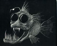 scratchboard anglerfish - WetCanvas