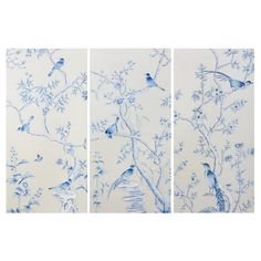 Holland Triptych of 3 Silk Panels by Bungalow 5. White silk, hand-painted silk panels.