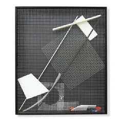 Piza, Arthur Luiz<br /> Boite à particules. Manipulável em madeira e arame galvanizado, 48x41x8 cm, A.V.