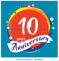 10th years greeting card anniversary with colorful number and frame. logo and icon with circle badge and background