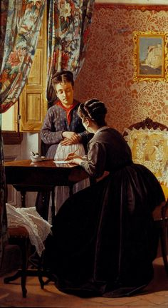 "Odoardo Borrani (Italian,1833 – 1905)  ""The Illiterate"" (1869)"