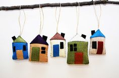 Set of 5 Felt House Ornaments - Rustic Whimsical Folk Art, Little Village, Handmade Housewarming Gift, Christmas Ornaments, Tree Decorations by 2Dogs1Coffee on Etsy https://www.etsy.com/listing/251568347/set-of-5-felt-house-ornaments-rustic