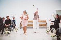 Flower girl idea - grandmothers served as flower girls in white + blush outfits {Shutterfreek Photography + Video + Photo Booth}