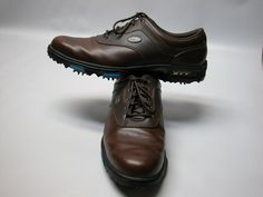 6acc360a058 Adidas SSE-TECH Golf Shoes Mens Size 9M White   Brown Saddle Style Soft  Spikes