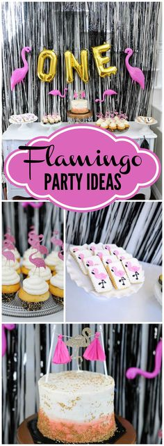 Love this first birthday with a flamingo theme in black, gold, and white! See more party ideas at CatchMyParty.com!