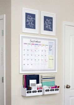 Pinned for the little boxes. After reading it she used desk organizers (from Target) and screwed them into the wall. -Thinking of doing something like this by the front door.