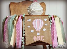 Pink Gold Mint HOT AIR BALLOON Birthday Highchair High Chair Banner Garland First One Spring Cake Smash Photo Prop Party Up Up And Away