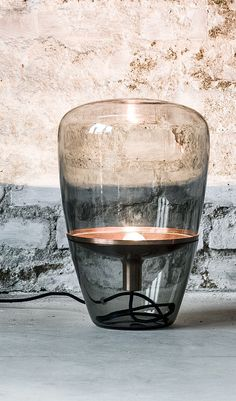 Lampe de table Balloon Small by Brokis / H 40 cm Verre fumé / Cuivre - Gallery S.Bensimon