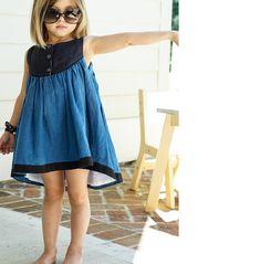 Idea Sandy Dress in Blue + Black (Daydream Line) Baby Girl Fashion, Toddler Fashion, Kids Fashion, Little Dresses, Little Girl Dresses, Trendy Dresses, Cute Dresses, Well Dressed Wolf, Diy Kleidung