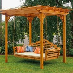 The pergola kits are the easiest and quickest way to build a garden pergola. There are lots of do it yourself pergola kits available to you so that anyone could easily put them together to construct a new structure at their backyard. Backyard Swings, Pergola Swing, Large Backyard, Backyard Pergola, Backyard Landscaping, Pergola Kits, Patio Decks, Pergola Ideas, Backyard Ideas