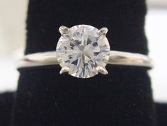 Round Diamond Ring 1 Carat Solitaire in Solid 14K White Gold G/VS, .90ct Actual