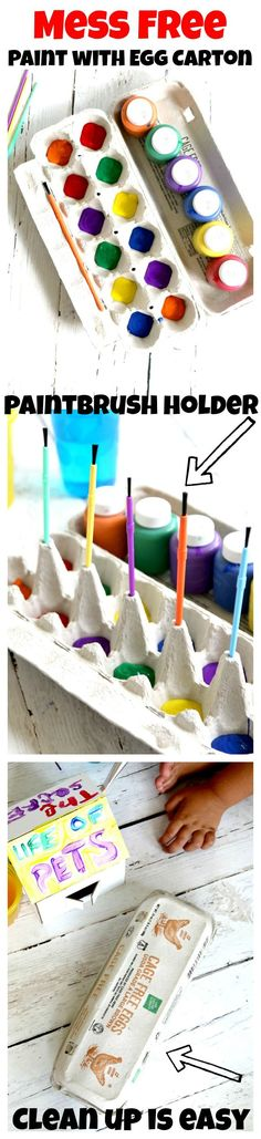 Mess Free Painting for kids using Cardboard Egg Cartons, also holds paintbrushes, prevents spills and to clean up, just close carton and throw away! Great mom and preschool tip!