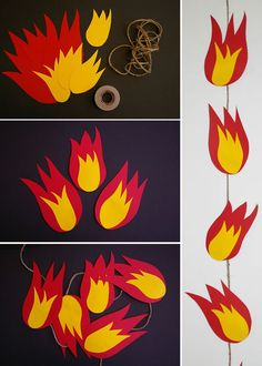 This fiery garland is just the right decoration for the fire department party. This fiery garland is Third Birthday, 4th Birthday Parties, Boy Birthday, Fireman Party, Firefighter Birthday, Fireman Sam, Dragon Party, Paw Patrol Party, Fire Trucks