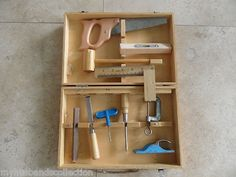 Vintage Children's Child Kid Carpenter Wood Tool Kit Set. King Toy