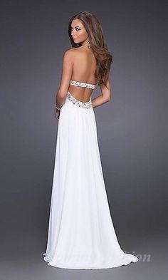 A-Line Tube White Chiffon Long Dress Coming05146