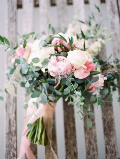 Blush and Ivory Peony Bouquet with Summer Greenery