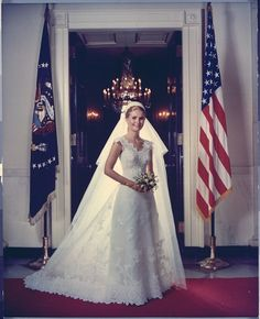 Tricia Nixon photographed at the White House on her wedding day in June 1971. Her wedding dress was designed by Priscilla of Boston