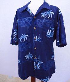 Kennington Hawaiian Tiki Surfer Palm Trees Camp Shirt Mens XL Summer Party Comfy #Kennington #Hawaiian