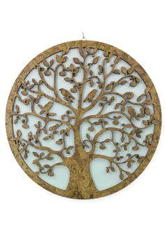 """Lebensbaum Baum des Lebens aus Holz  Graviert-""""Symbol der Kosmischen Ordnung"""". Weiße Hintergrund Wanddeko Holzdeko Kork Wandbild Dekoration Deko Geschenk zum Geburtstag Hochzeit  Muttertag Weihnachten"""