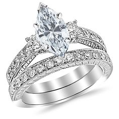 New Houston Diamond District CTW Three Stone Vintage With Milgrain & Filigree Bridal Set Wedding Band & Diamond Engagement Ring w/ Ct GIA Certified Cushion Cut D Color Clarity Center online - Favoritetopbuy Wedding Ring Styles, Wedding Rings Vintage, Vintage Engagement Rings, Diamond Engagement Rings, Wedding Set, Diamond Rings, Engagement Bands, Dream Wedding, Solitaire Rings