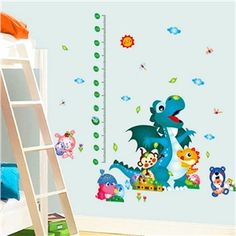 Cartoon Lovly Animals Scale Ruler Children Room Bedroom Living Room Entrance PVC Wall Stickers Height Ruler Sticker