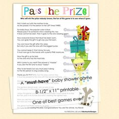 Pass the Prize baby shower game a musthave and so by monkeyhut, USD3.00 ...
