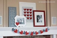 Red, white, and gray Valentine's mantle (with printable) from @Landeelu A. #printable #valentines #mantle