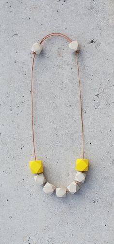 Geometric Necklace / Geometric Jewelry / Wooden by BlueBirdLab, $42.00