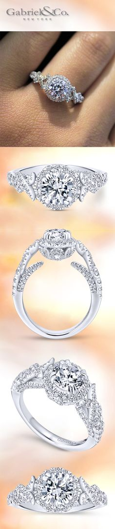 Gabriel & Co. - Solidify your relationship with this 14k White Gold Round Cut Diamond Halo Engagement Ring.