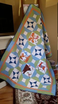 Kalinka throw quilt blue and green quilt  couch quilt by djwquilts