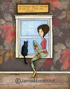 I Miss Him funny cat art print | Etsy Canvas Art Prints, Canvas Wall Art, Framed Prints, Cat Art Print, Dachshund Love, I Miss Him, Dog Art, Fine Art Paper, Canvas Frame
