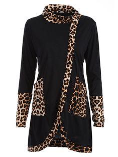 Longline High Neck Top with Leopard Insert in Black | Sammydress.com